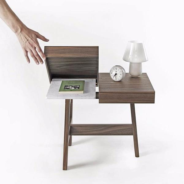 'Noce' by LucidiPevere for Internoitaliano is a three-legged bedside table in walnut.