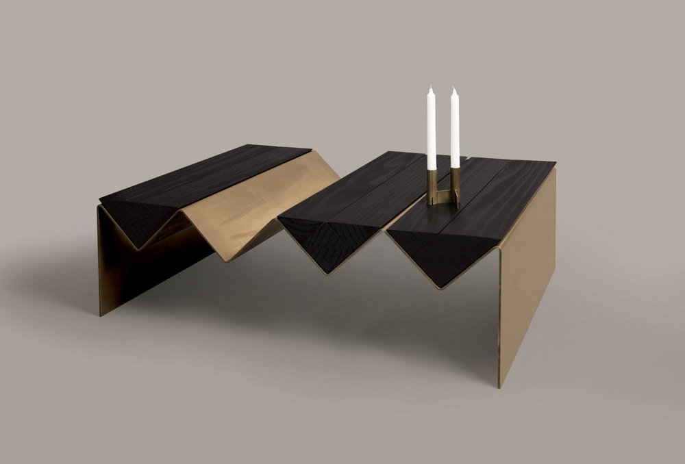 The 'Zig Zag' coffee table and 'Interlock' candlesticks.