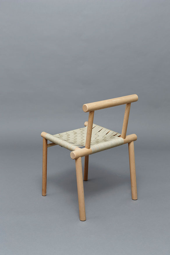 James Shaw's 'In the round' chair makes good use of chunky dowel-like sections of oak.
