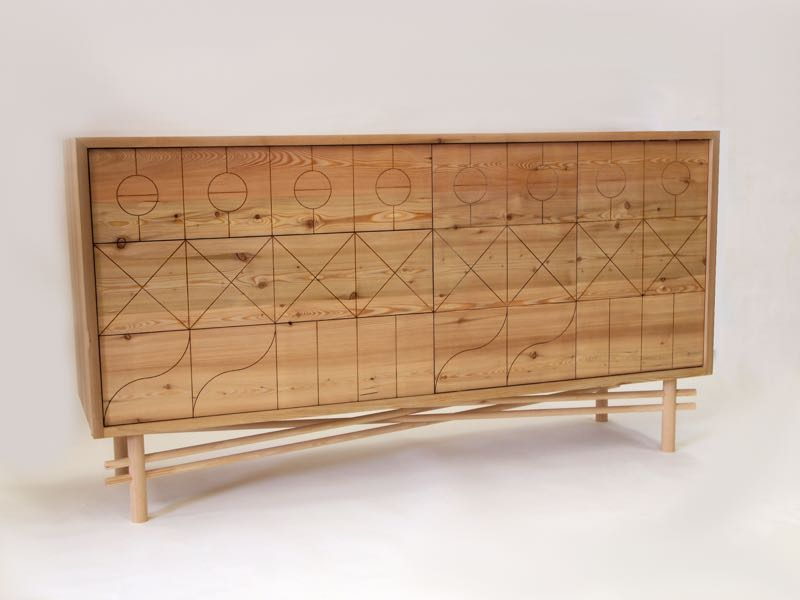 Charlie Crowther-Smith's '1552.2' cabinet uses shallow cnc cutting to create a decorative front panel.