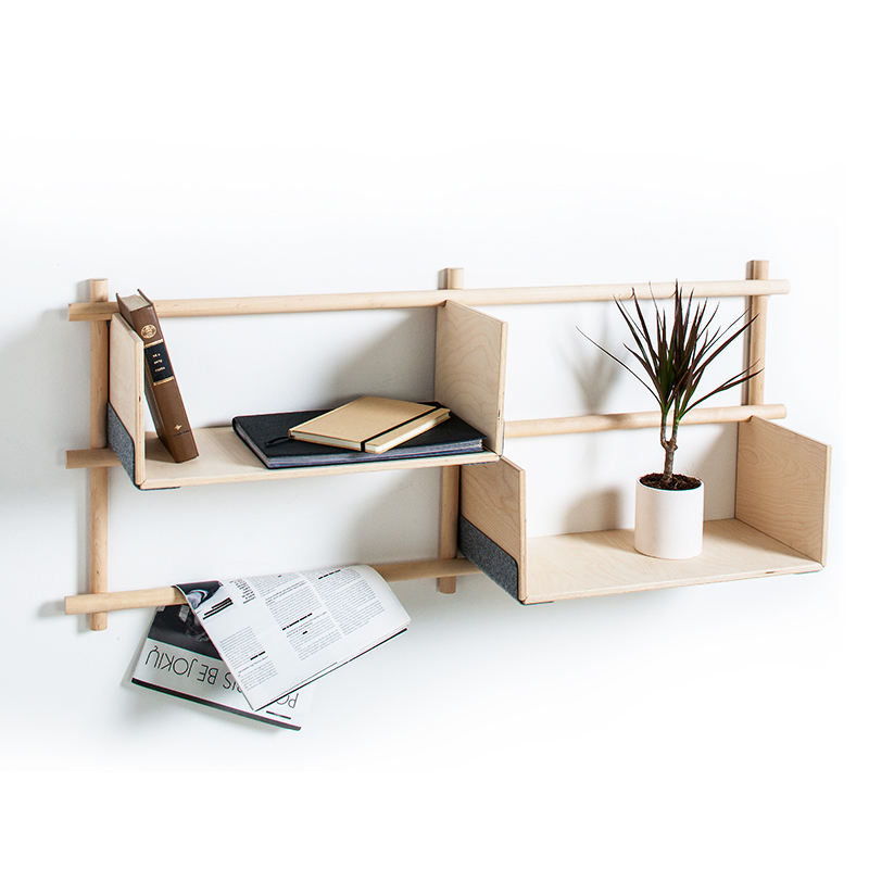 Emko showed their work as part of the Lithuanian Design Block at Tent. Shown here is their ingenious flat-packed shelving system 'Foldin'. The plywood shelves hook into place.