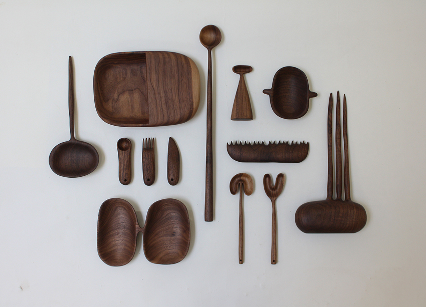 Carved timber objects by Julian Watts from Swafield gallery, The Coldpress.