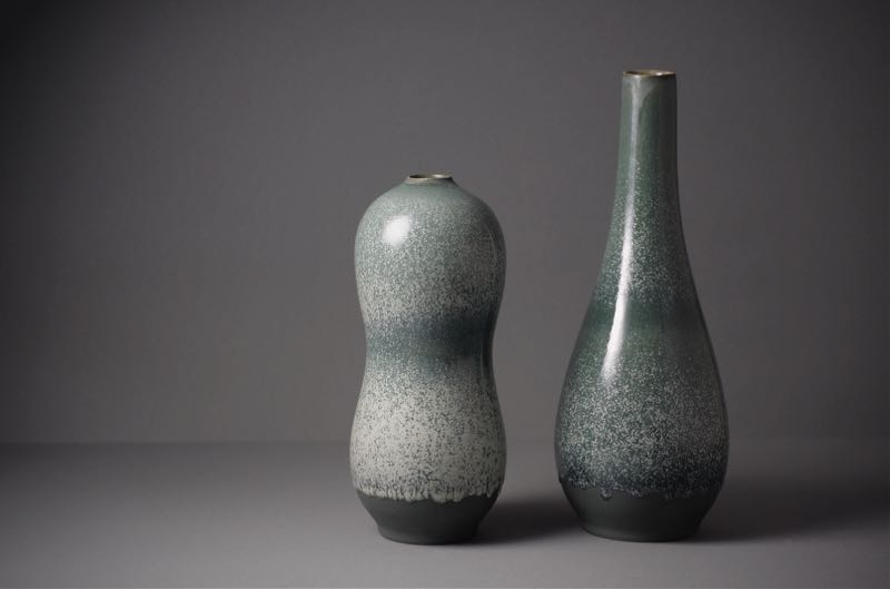 Tortus Copenhagen vessels featured beautiful variegated glazes in unusual colours.