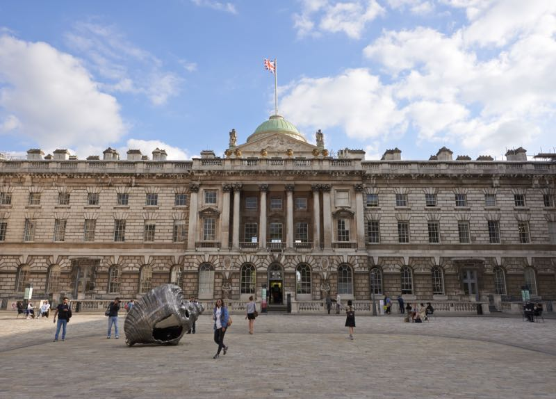 The imposing exterior of Somerset house situated in the area of London between Aldwych and Temple. The building was converted into an arts and design centre in 1997.