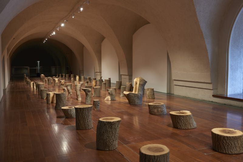 'My Grandfather's Tree' installation by Max Lamb, showing the other end of the long room.