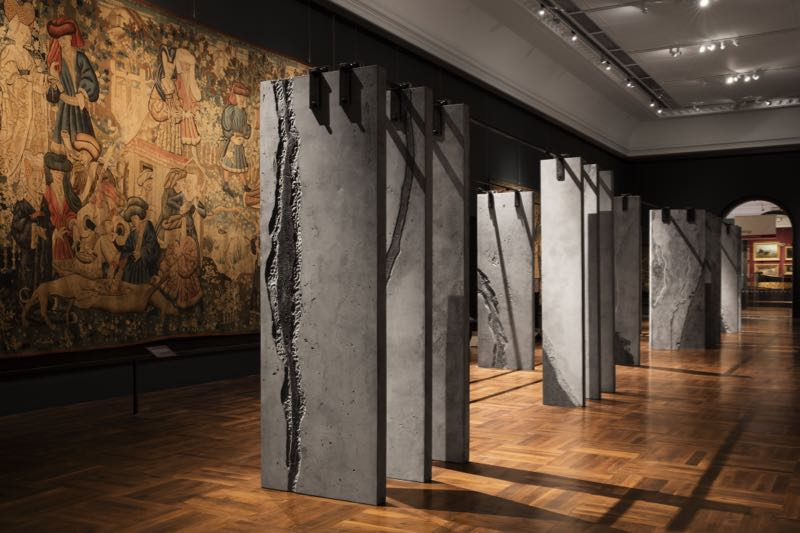 Grafton Architects' 'Ogham Wall' installation in the Tapestry Gallery at the V&A. Photo Ed Reeve.
