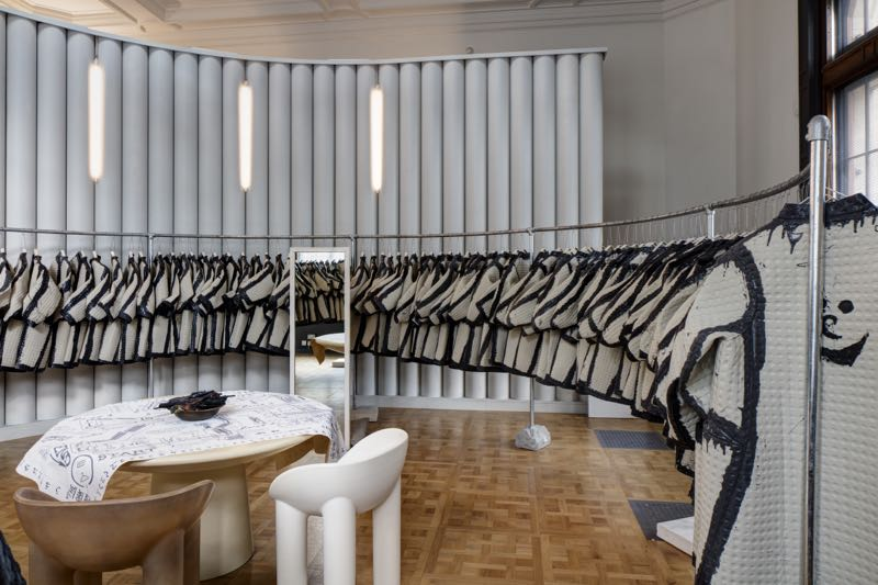 Faye and Erica Toogood's 'The Cloakroom' at the V&A. Just the starting point of a whole journey around the museum wearing foam fabric coats. Photo Ed Reeve