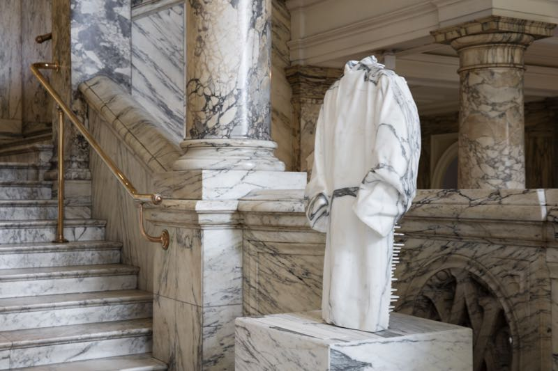 The marble coat - part of 'The Coakroom' installation by Faye and Erica Toogood. Photo Ed Reeve