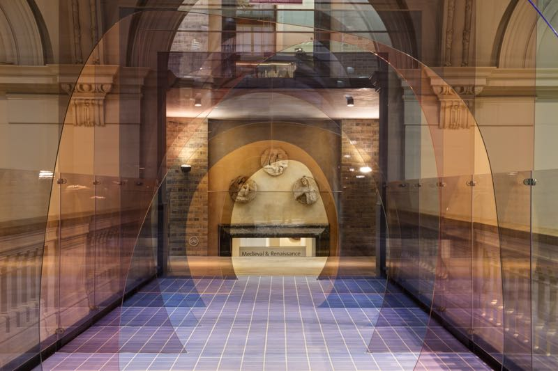 'Mis en Abyme', the perspex tunnel created by Allegri & Fogale to transform the bridge above the Medieval and Renaissance Sculpture gallery at the V&A. Photo Ed Reeve.
