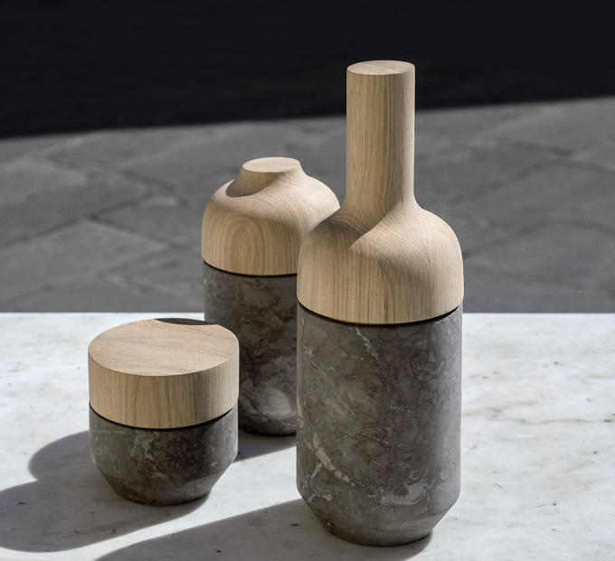 'Mutamenti' - Oak and Billiemi marble lathe-turned vessels by Gum Design for  Cusenza Marmi  and Studio 14. Photo Deborah Nopor.