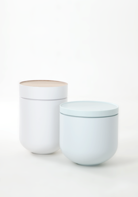 Studio WM's 'Troche' side tables in Corian™ and maple 2013. Photo: Paul Schipper.