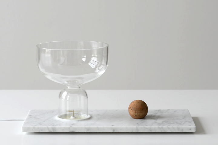 From the Senses Unfold collection from 2014, the 'Ventus' oil diffuser. Removing the timber ball from the vessel allows the scent to escape. Placing it on the marble distributes the scent via a tiny brass propellor. Photo: Paul Schipper. You can watch a video on how 'Ventus' works here.