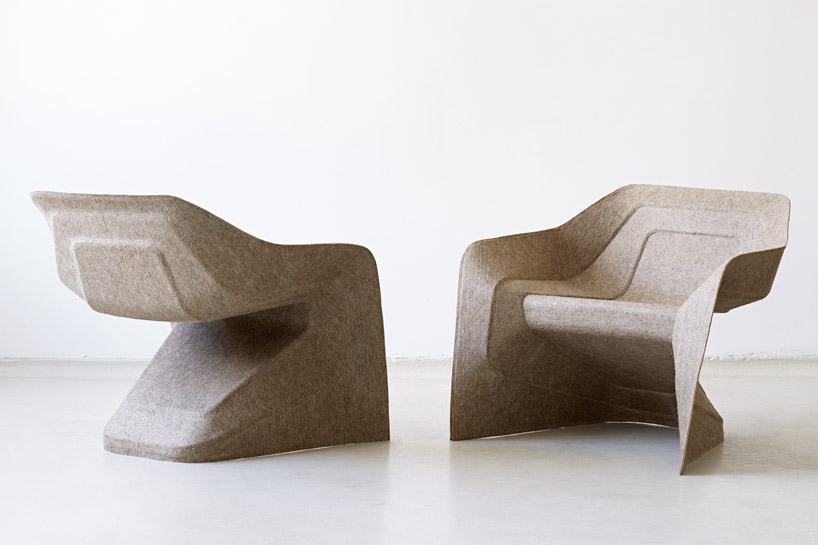 Werner Aisslinger's 2012 'Hemp' chair commercialised the idea of a monobloc chair made from sustainable materials. This version is made in a similar way to rear parcel shelves in cars but uses hemp.