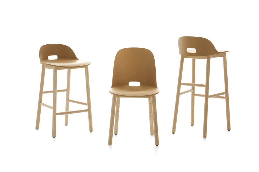 The 'Alfie' stools and chair by Japser Morrison for Emeco 2015. The bases are natural ash timber.