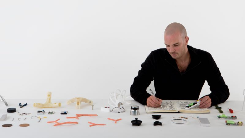 Benjamin Hubert in his ideal environment - surrounded by models and prototypes developing long term solutions to complex problems.