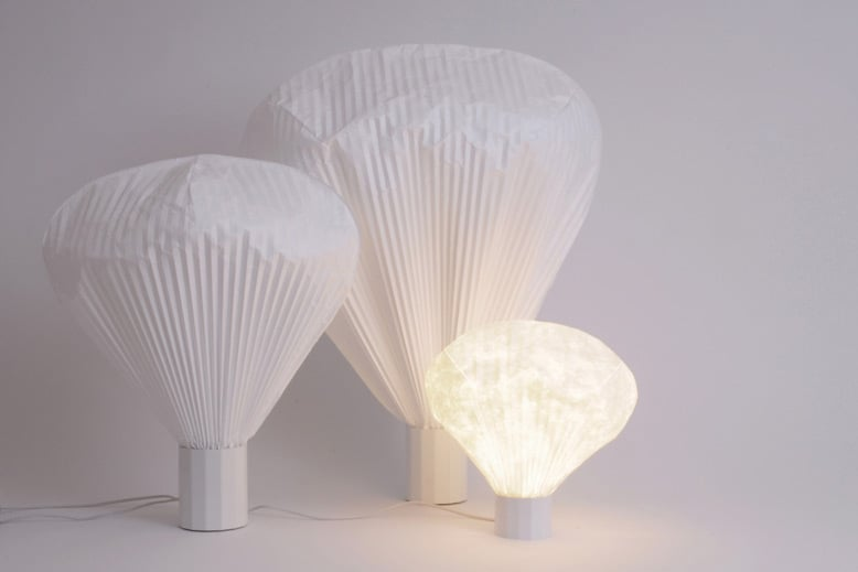 'Vapeur' lamps for Moustache 2009. Made from the building paper Tyvek, the lamps appear to be filled with air like pleated balloons. Photo by Felip Ribon.