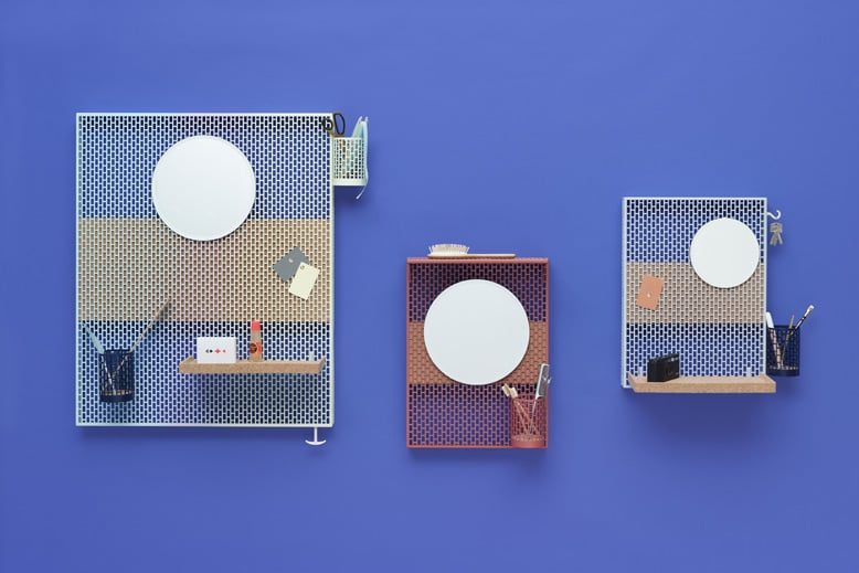 Three models of the pin-boards 'Pinorama' for Hay (2014). The oblong perforated metal structure offers a delicate appearance while cork shelves and backing board soften the look even further.