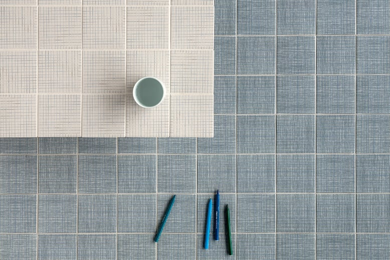 The 'Tratti' tiles for  Mutina  (2014) showing patterns 'Aqua' and 'Feutre'. Photo by Alessandro Paderni - Eye Studio.