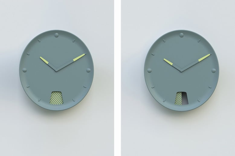 'Guichet' wall clock for Moustache (2010). The glazed ceramic wall clock features an internal pendulum that drives a striped piece across the open window in homage to clocks from another generation.