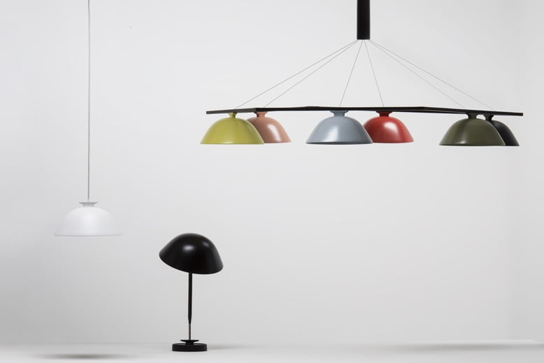 The w103 light for Wästberg (2012) in just some of it's forms - table, pendant and chandelier. The light also comes in 7 unusual colours along with black and white. Photo Gerhardt Kellerman.