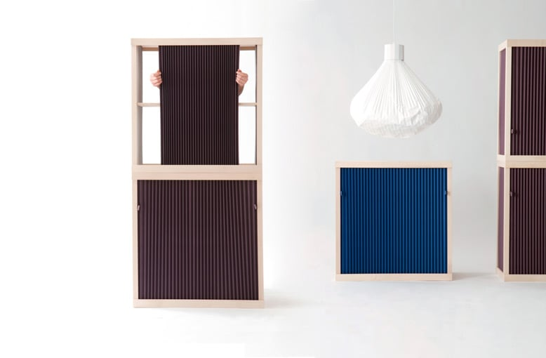 'Armoire Souple' for Moustache 2009. Pleated fabric walls & door and a sycamore frame. The storage can be stacked. A pendant version of the 'Vapour' light is also shown. Photo Felipe Ribon.