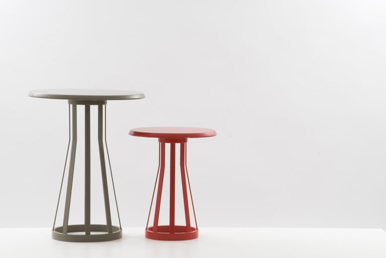 'La Chapelle' tables for David Design (2006). Lacquered plywood and steel bands in various heights and sizes from side tables to dining tables.