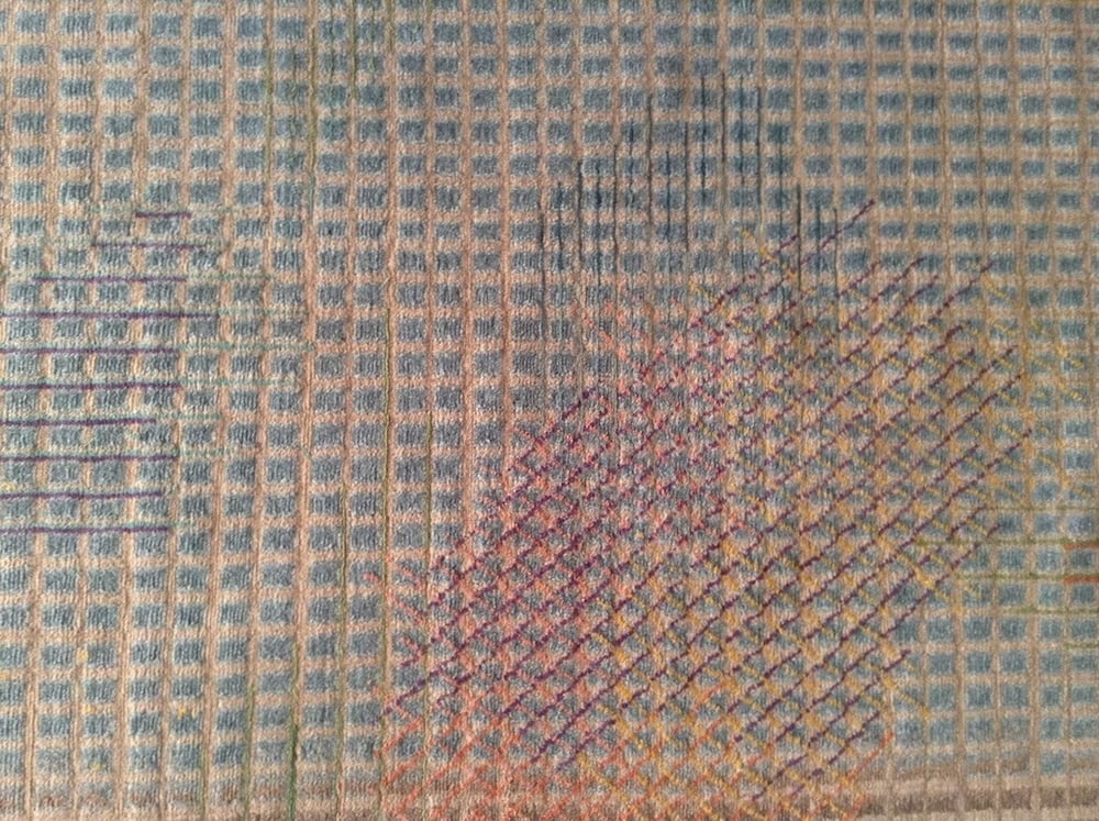 A close up of one of the 'Meteo' rugs for Golran (2015), showing the complexity of colours used.