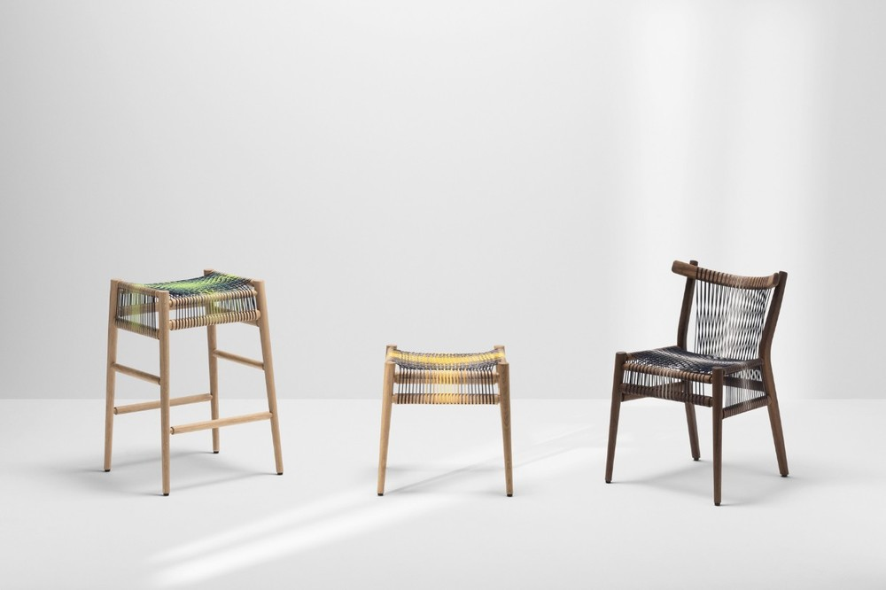 The 'Loom' barstool, stool and chair. The two on the left are new examples with input on the weave and colour from British textile designer Ptolemy Mann.