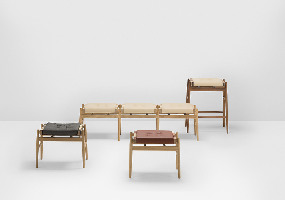 The 'Leather' stools and 'Leather Triple Stool' bench.