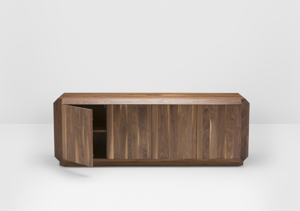 The 'Corner' sideboard. The inverted corners can remain relatively subtle as seen here or can be expressed in contrasting natural timber when lacquered versions of the cabinets are chosen.