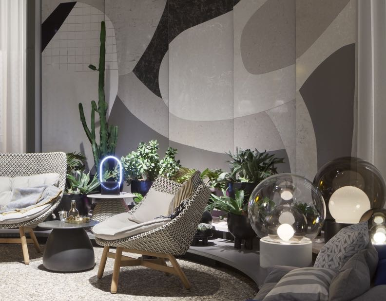A peak inside Das Haus reveals products from German brands Pulpo and Dedon but also a wall created from Caesarstone. Herkner has had a relationship with the Australian company for several years through his collaborations with Wallpaper* Handmade.