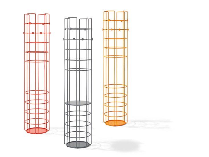 Steffen Kehrle's 'Bazar' tower-like floor standing coatracks. The design comes in numerous colours and with coloured or natural timber internal shelves