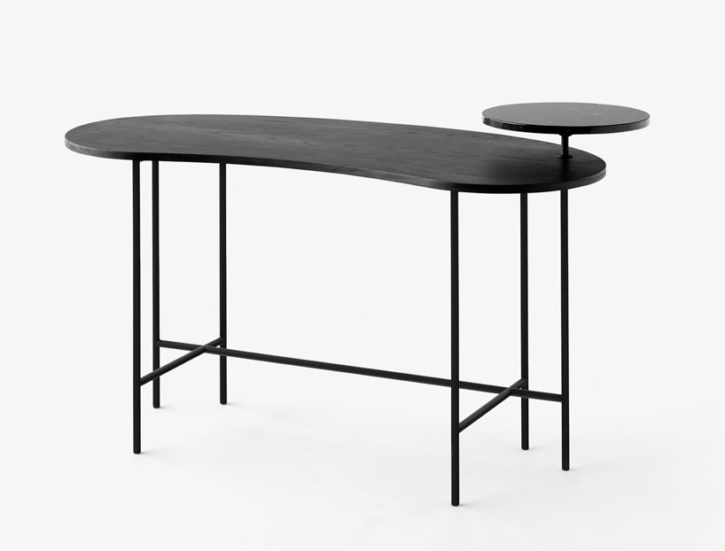 Danish brand &Tradition extended Jaime Hayon's 'Palette' side table range with a desk design. The Calder inspired collection features tops in contrasting colours and materials in biomorphic shapes.