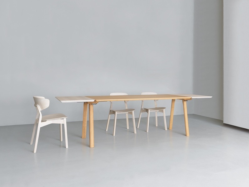 The new 'Rail' table by Kaschkasch for Zeitraum can be extended via a unique movable and lockable trestle base. Shown with Zeitraum's 'Nonoto Comfort' chairs by Läufer + Keichel.