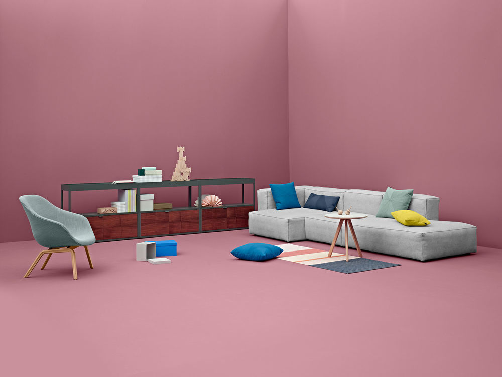 A shoot for the 2013 HAY catalogue with Stefan Diez's 'New Order' storage and the Mags sofa encapsulated in a perfect shade of pink.