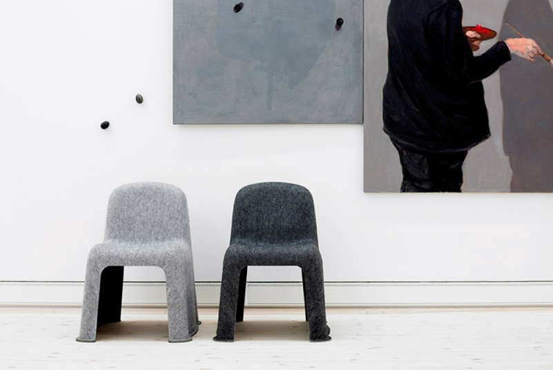 The 'Nobody' chair by Komplot was introduced in 2007 to critical acclaim but few sales. The rigid felt form is made from recycled PET bottles which is more expensive than virgin plastic but environmentally intelligent.