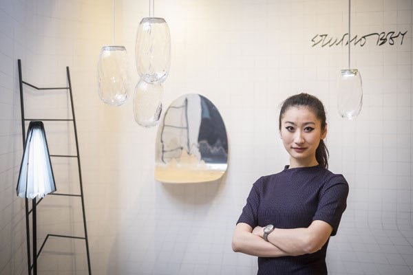 Cecilia Xinyu Zhang of Studiobey at her stand during the Stockholm Furniture and Lighitng Fair.