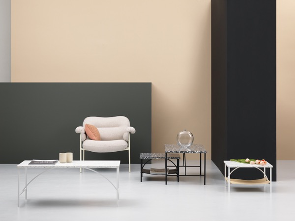The 'Bollo' armchair by Andreas Engesvik and Note Design Studio's 'Tabula' tables - both are for Fogia.