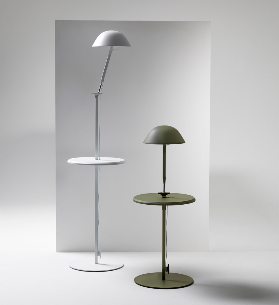 The floor version of Inga Sempé´s w103 lamp comes with built in table and is height adjustable.