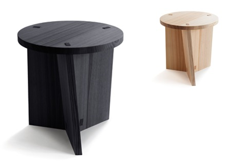 The solid ash 'Marfa' stool by CKR. Manufactured by Finnish company NIkari. Photograph: Chikako Harada