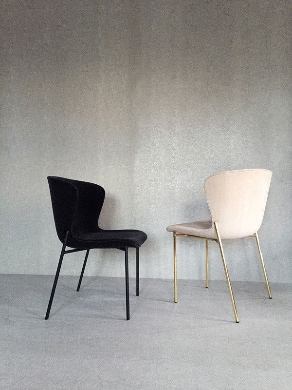 The 'La Pipe' dining chair by Friends & Founders. Subtle details give it a luxurious feel.