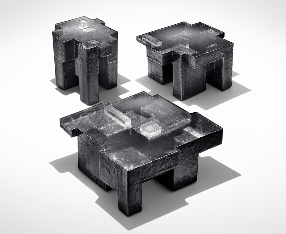 'Resinite'  Black Resin Fossil coffee tables, 2011. Design Nucleo - Piergiorgio Robino + Stefania Fersini Fiberglass, polyester resin, pigment. Edition of 5 + 2 a.p. Exclusively for Gabrielle Ammann Gallery, Cologne.