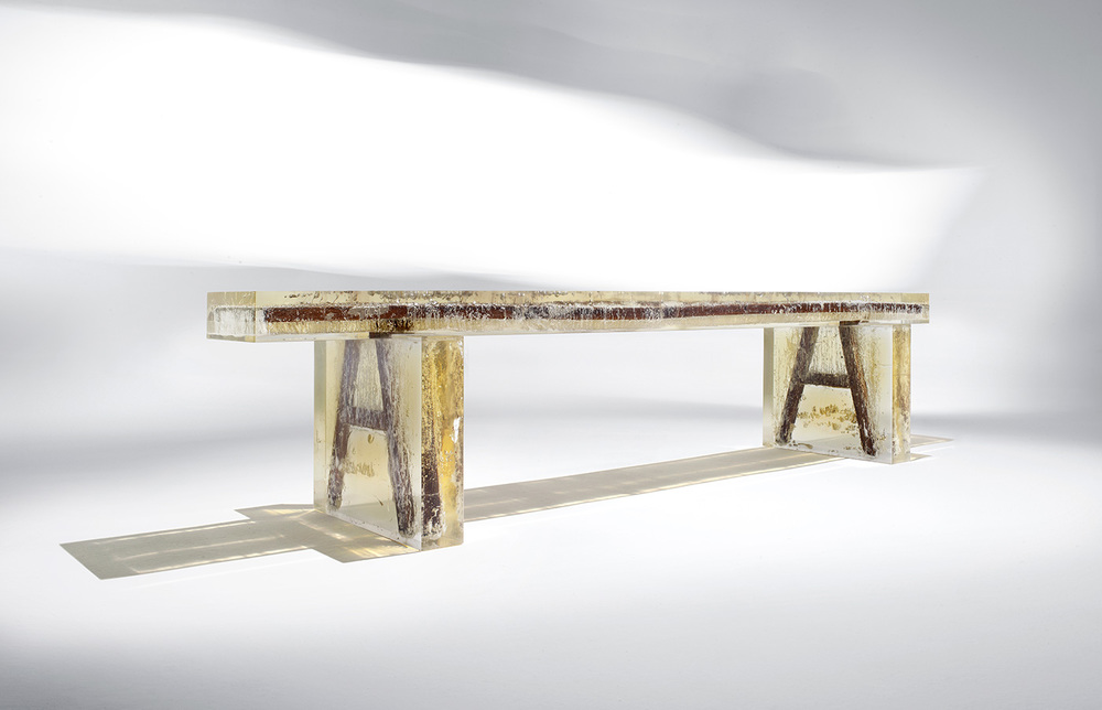 'Souvenir of the last century' bench, 2012. Design Nucleo - Piergiorgio Robino. Wood bench and epoxy resin. Unique piece, exclusively for Gabrielle Ammann Gallery, Cologne.