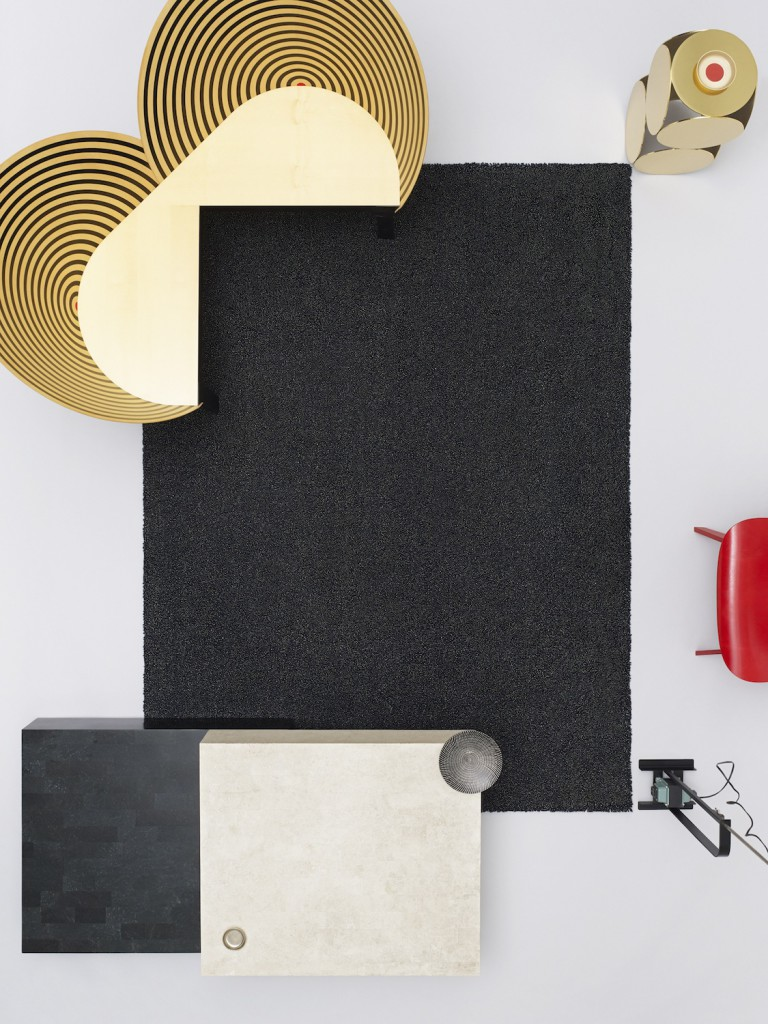 The 'Dew' rug by for Danskina as photographed by Scheltens Abbenes. Additional items include the Nanna Ditzel 'Bench for Two' (top left), a red Eames 'LCW' peeking in on the right and a Castiglioni Brothers 'Toio' floor lamp (bottom right).