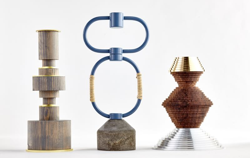 1+1+1 - Three design studios from three different Nordic countries collaborate to produce 27 objects in one category. Shown are the latest in this ongoing project - candlesticks by Petra Lilja, Aalto Aalto & Hugdetta.