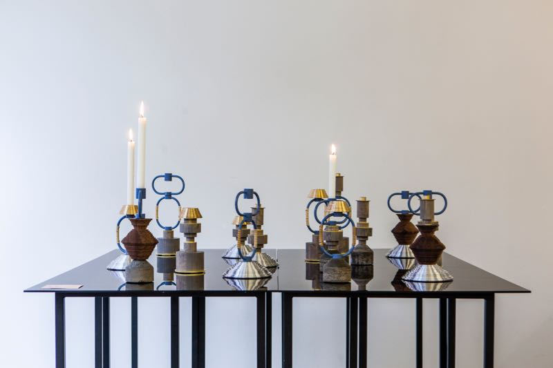 Some of the 1+1+1 candlesticks on show at Spark Design Gallery.