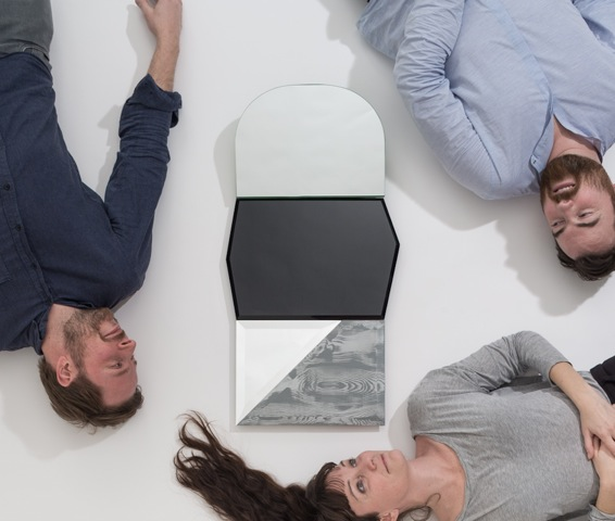 A 1+1+1 Mash Up mirror with designers Petra Lilja (bottom), Klaus Aalto from Aalto Alto (left) and Snæbjörn Þór Stefansson from Hugdetta top right.