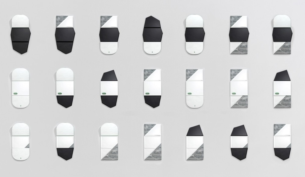 The full range of 27 mirrors from the third stage of the 1+1+1 Project.