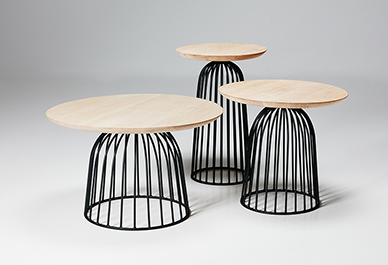 The 'Wire Basket' side tables by 365º North for Won Design. The bell-like wire cage side tables come in three heights with oak tops in three different diameter.