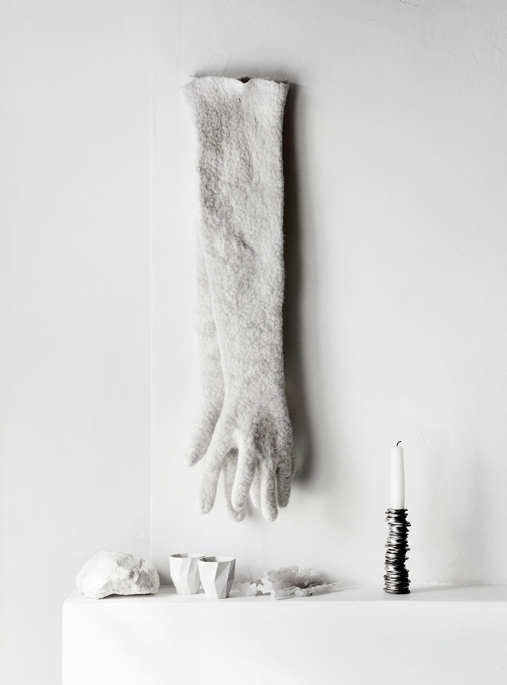 Sofie Lachaert and Luc D'Hanis 'Coin' candelabra and felted gloves. Photography by Sharyn Cairns.